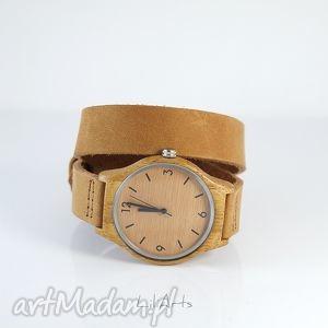 drewniany zegarek, bransoletka - skórzany, brązowy - zegarek, drewniany