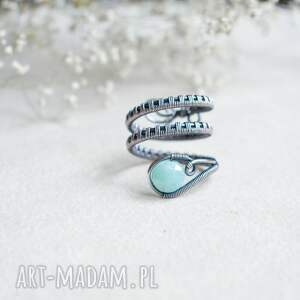 amazonit - pierścionek z miedzi, miedziany, niebieski