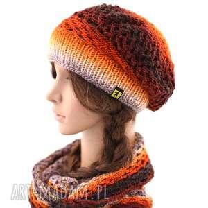 Prezent komplet ażurowy w pomarańczach, rudościach i brązach, komplet, czapka, beret