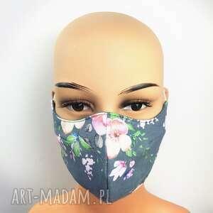 maseczka orchidee na szarym, antysmogowa, maska twarz