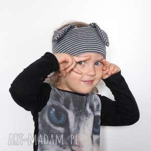 opaska dziecięca w paski z uszami, dziecko, zebra, bawełna, opaska, paski, dzianina
