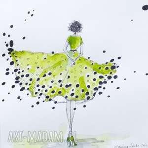 CZARUJĄCA ISTOTKA praca akwarelą i piórkiem artystki plastyka Adriany Laube, kobieta