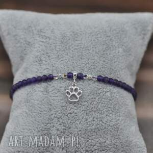 bransoletka z łapką i kamyczkami naturalnymi, pies, łapka, łapa, biżuteria