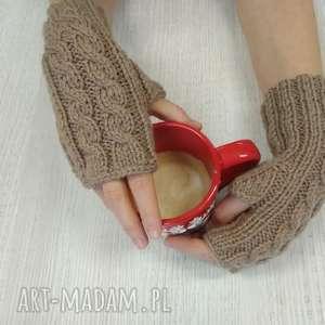 autorskie rękawiczki mitenki robione na drutach