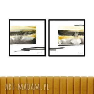 ajan art abstrakcja akwarela 2 x 25cm, ręcznie malowane, oryginał