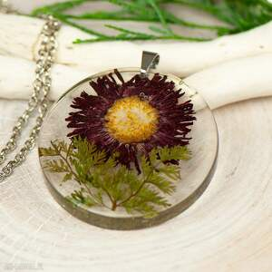 naszyjnik z suszonymi kwiatami w żywicy z262, biżuteria żywicy