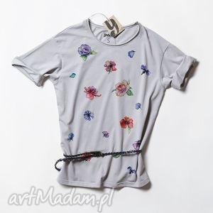 FLOWERS tunika oversize, koszulka, bluzka, tshirt, nadrukiem, kwiat
