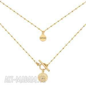 złoty naszyjnik z monetą - zapięcie, elegancki, monetka