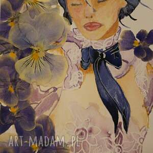 fiołkowiejąc - mini akwarela z suszonymi kwiatami, niebieskie bratki, prawdziwe