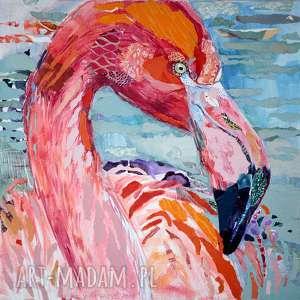 obraz ręcznie malowany akryl collage flaming, obraz, collage, malarstwo