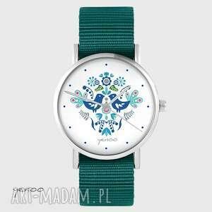 zegarki zegarek yenoo - ptaszki folkowe, niebieskie morski, zegarek, ptaszek