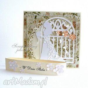 scrapbooking kartki panna młoda - kartka ślubna, ślub, welon, suknia, kwiaty
