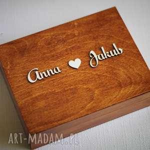 Pudełko na obrączki z imionami, drewno, eko, ślub,