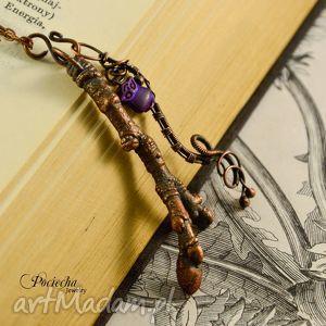 branch - naszyjnik z gałązką i sówką, miedź, wisiorki, komplet, prezent, sówka