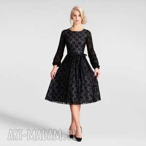 Sukienka ROMA Midi Koronka Czarna (podkład szary), koronka, midi, rozkloszowana