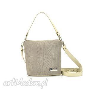 farbotka skórzana taszka touch 056 kremowa / szaro beżowa, modna, elegancka
