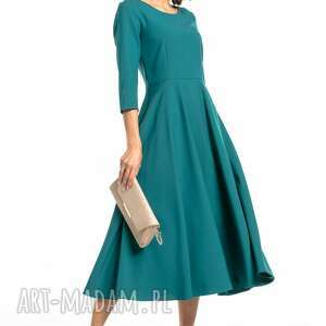 elegancka sukienka maxi z zamkiem krytym, t327, szmaragdowa, elegancka