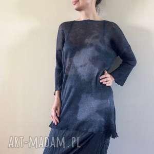 lniany czarny sweter z kapką grafitu, sweter, len, tunika, dzianina, letni