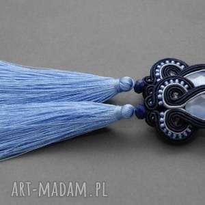 granatowo-niebieskie klipsy sutasz z chwostami, sznurek, wiszące, długie