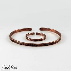 komplet - miedziana bransoletka i obrączka 200131-05, bransoletka, pierścionek