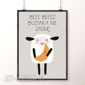 Plakat BEZ BUZIAKA NIE ZASNĘ, owca, owieczka, buziak, musztardowy, księżyc, dobranoc