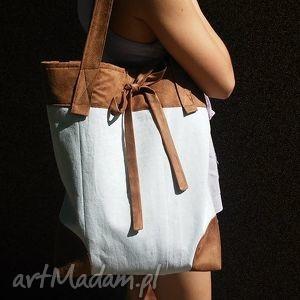 na ramię modnatorba z kokardką beż-brąz, torba, ramię, ekotorba, tkanina