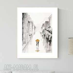 obraz ręcznie malowany 30 x 40 cm, deszczowa ulica, 2664390