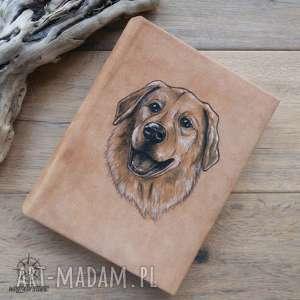 handmade notesy album na zdjęcia w naturalnej skórze, z ręcznie malowanym portretem psa