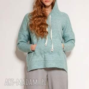 swetry swetrowa bluza - swe140 mięta, bluza, z kapturem, sweter