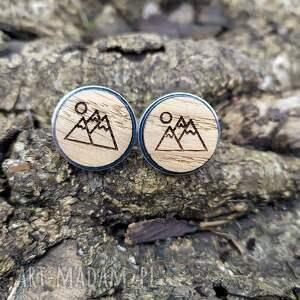 drewniane spinki do mankietów góry góry, spinki z górami ekologiczne
