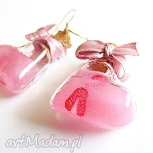 handmade kolczyki kolczyki różowe serca filoki