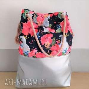na ramię torba worek papugi, torba, worek, zakupy, wycieczki, wczasy, spacery