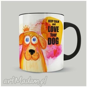 Prezent Kubek Keep Calm and love Your dog, ilustracja, pies, piesio, prezent, kubek