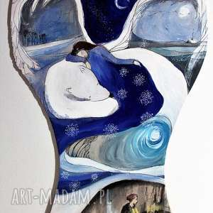 syberyjska historia obraz akrylami na drewnie artystki a laube - dekoracja
