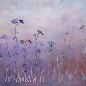 Obraz na płótnie - Łąka w fioletach format 30/20 cm , łąka, fiolet, niebieski, szary