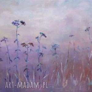 obrazy obraz na płótnie - łąka w fioletach format 30/20 cm, łąka, fiolet, niebieski