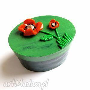 pudełeczko - maki, pudełko, pudełeczko, mak, zieleń