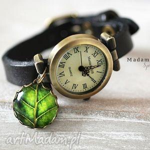 zegarek z prawdziwej skóry, zegarek, zegar, czarny, skóra biżuteria