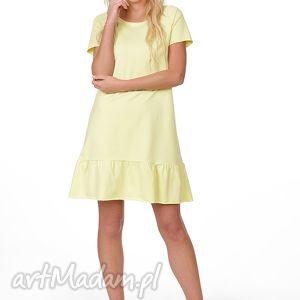 sukienka z falbanką, sukienka, dzinina, trapez, falbanka