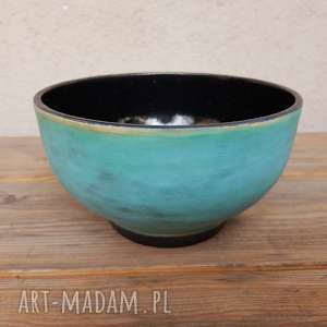 Misa turkusowo-czarna, misa, ceramika, rękodzieło, glina