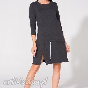 Sukienka dresowa, T150, ciemnoszara, sukienka, luźna, rozcięcie