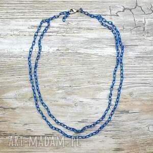 handmade naszyjniki łańcuszki - cobalt blue