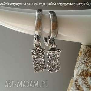 na blaszkę kolczyki ze srebra, wiszące, srebrne prostokąty, surowe