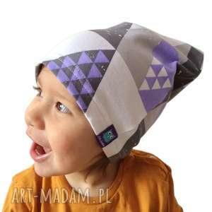 ręczne wykonanie dla dziecka czapka dresówka mozaika, 2 rozmiary