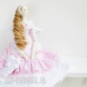 anioł tilda prezent na komunię vintage, chrzest, lalka