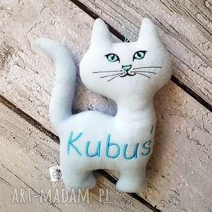 Prezent Błękitny kot personalizowana zabawka metryczka z imieniem dziecka,