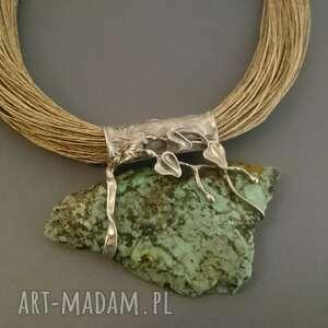 turkus afrykański w pnączach, turkus, kamienie naturalne, stal