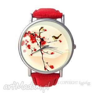 egginegg orientalne ptaszki - skórzany zegarek z dużą, czerwony