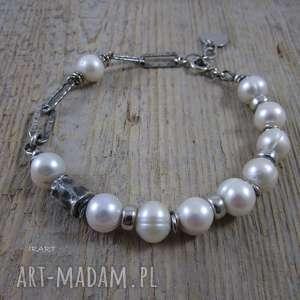 Perły nieidealne, srebro, perły, bransoletka
