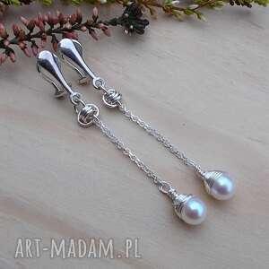 ręcznie zrobione klipsy perłowe kropelki srebrne